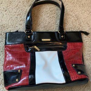 Anne Klein Purse Black White Burgundy Work Tote
